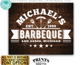 """Editable BBQ Sign, Backyard Barbecue, Barbie Grill Smokehouse, PRINTABLE 8x10/16x20"""" Brown Rustic Wood Style Sign <Edit Yourself w/Corjl>"""