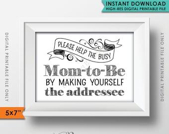 "Baby Shower Address Envelope Sign, Help the Mom-to-Be, Address an envelope, Baby Shower Decorations, 5x7"" Instant Download Digital Printable"