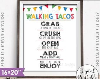 """Walking Tacos Sign, Taco Bar, Taco Sign, Fiesta Cinco de Mayo Sweet Sixteen Birthday Graduation Party, PRINTABLE 8x10/16x20"""" Tacos Sign <ID>"""