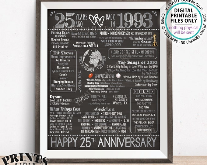 """25th Anniversary Gift, Married in 1993 Anniversary Flashback 25 Years Back in 1993, Silver, PRINTABLE 8x10/16x20"""" Chalkboard Style Sign <ID>"""