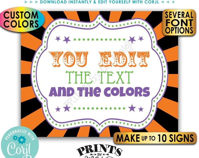 """Custom Carnival Signs, Carnival Theme Party, Circus Birthday, Make Up to 10 PRINTABLE 8x10/16x20"""" Carnival Signs <Edit Yourself with Corjl>"""