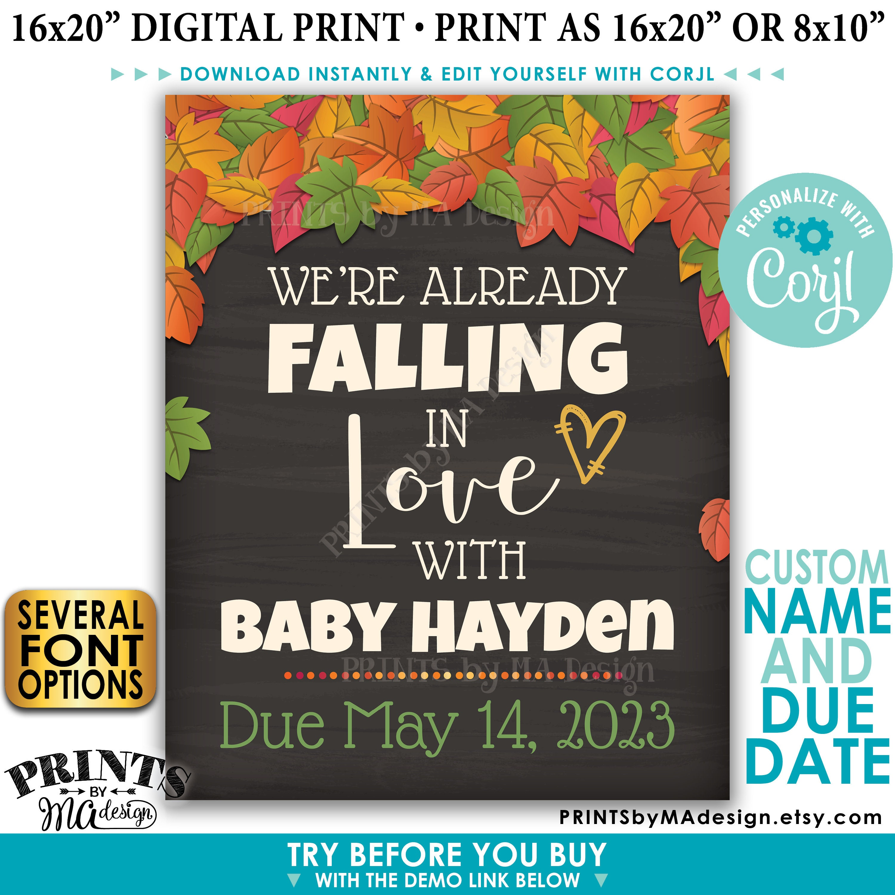 Fall pregnancy announcement we 39 re already falling in love for D sign shop