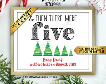 """Christmas Pregnancy Announcement, And Then There Were Custom Number of Xmas Trees, Gender Reveal, PRINTABLE 8x10/16x20"""" Baby Reveal Sign"""