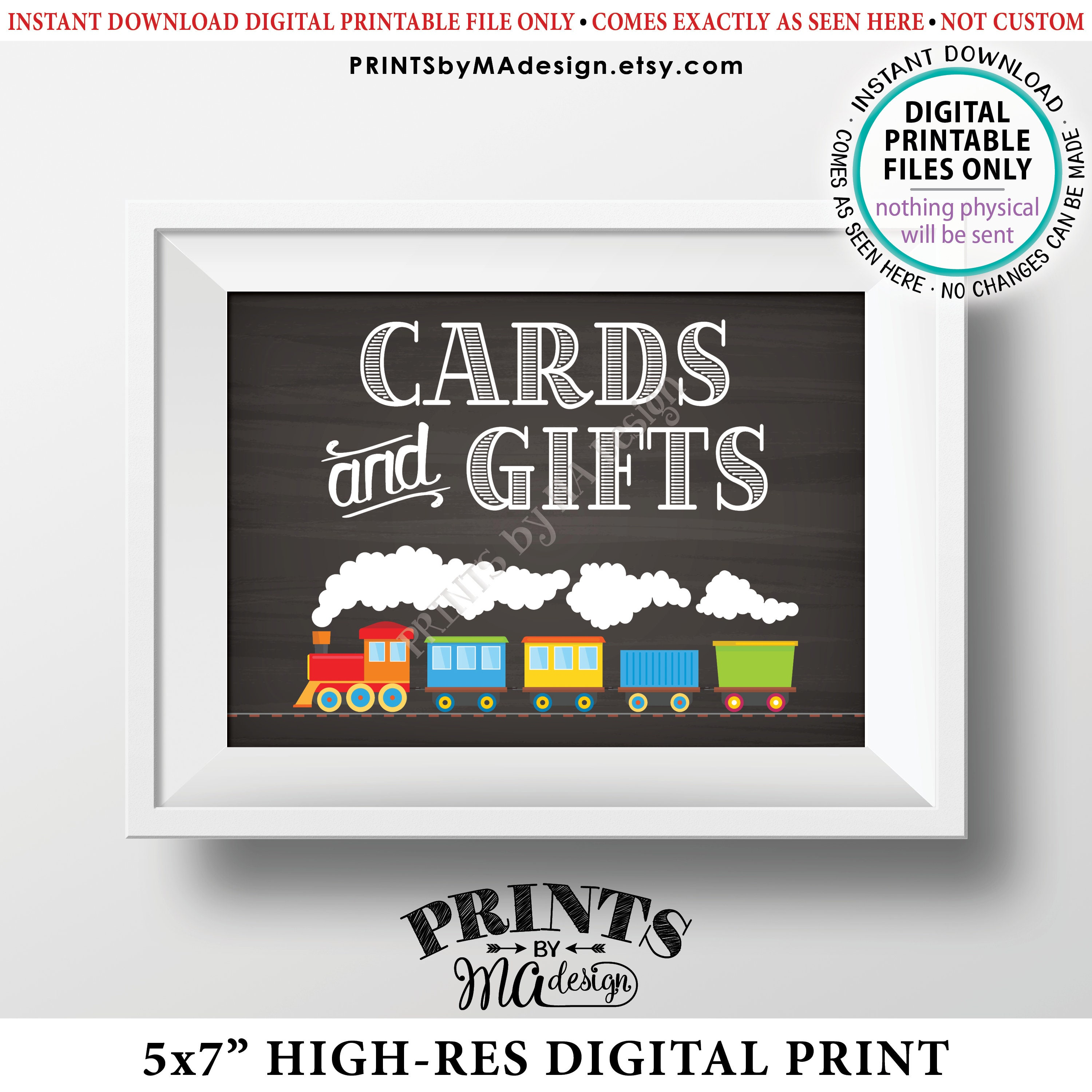 Train Birthday Card Gifts Sign And Cards Theme Gift Table Chalkboard Style PRINTABLE 5x7 Bday