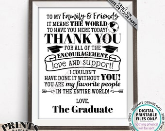 """Graduation Party Thank You Sign, Thanks from the Graduate Grad Party Decoration, PRINTABLE 8x10/16x20"""" Grad Sign <ID>"""
