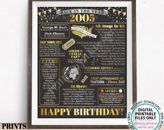 """Back in the Year 2005 Birthday Sign, Flashback to 2005 Poster Board, '05 B-day Gift, Bday Decoration, PRINTABLE 16x20"""" Sign <ID>"""