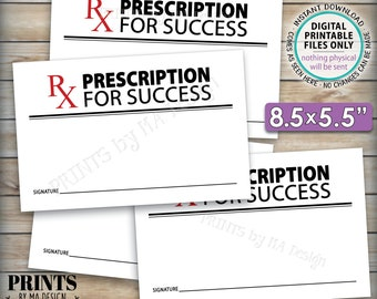 "Please Leave Your Prescription for Success, Med School Graduation, Retirement, Nurse Advice, 8.5x5.5"" Cards on 8.5x11"" PRINTABLE Sheet <ID>"