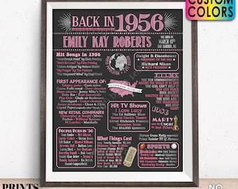 "Back in 1956 Birthday Poster Board, Flashback to 1956 Birthday Decoration, B-day Gift, Custom PRINTABLE 16x20"" 1956 Sign"