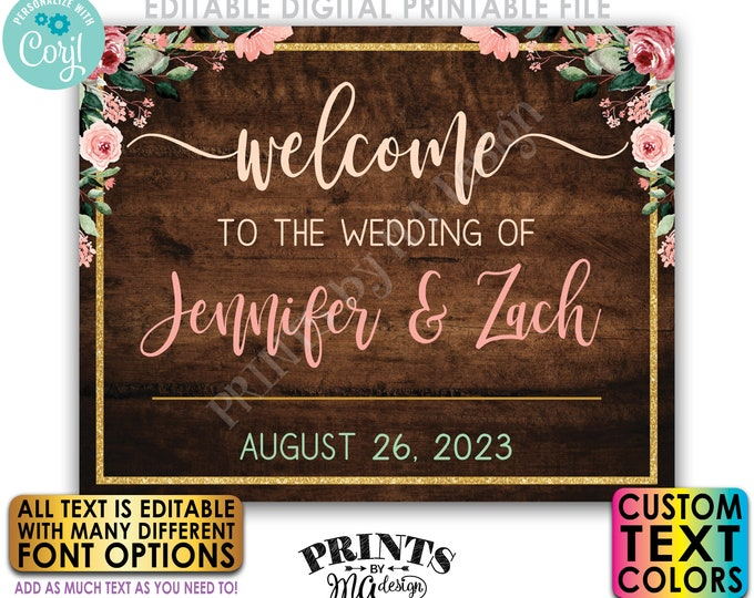 """Editable Wedding Welcome Sign, Rose Gold Blush Floral, Gold Glitter, Custom Rustic Wood Style PRINTABLE 16x20"""" Sign <Edit Yourself w/Corjl>"""