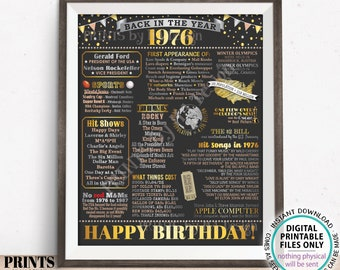"""Back in the Year 1976 Birthday Sign, Flashback to 1976 Poster Board, '76 B-day Gift, Bday Decoration, PRINTABLE 16x20"""" Sign <ID>"""