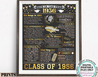 """Class of 1956 Reunion Decoration, Back in the Year 1956 Poster Board, Flashback to 1956 High School Reunion, PRINTABLE 16x20"""" Sign <ID>"""