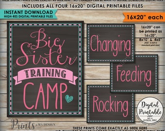"""Big Sister Training Camp Photo Props, Pregnant Baby #2 Announcement, FOUR 16x20"""" Chalkboard Style Instant Download Digital Printable Files"""