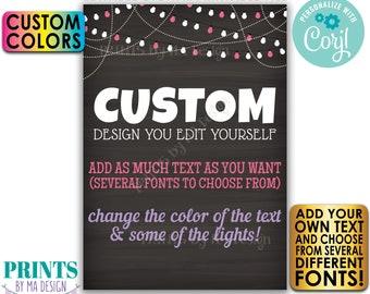 "Editable 5x7"" Chalkboard Style Portrait Design, Choose Your Text, String of Lights, Custom Digital PRINTABLE File <Edit Yourself w/Corjl>"