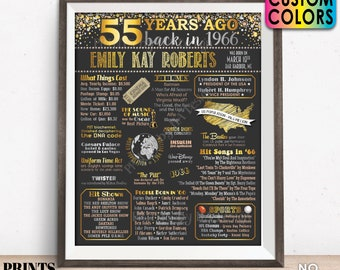 """55th Birthday Poster Board, Back in 1966 Flashback 55 Years Ago B-day Gift, Custom PRINTABLE 16x20"""" Born in 1966 Sign"""