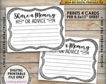 """Share a Memory or Advice Graduation Advice Card, Graduation Party Decor, Gold Glitter Advice Card, 8.5x11"""" Printable Instant Download"""
