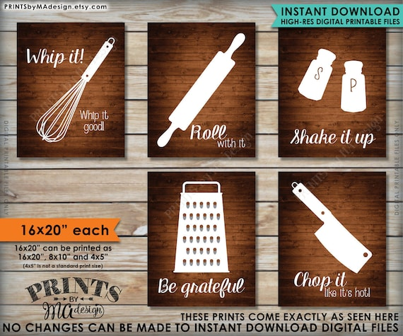 Funny Kitchen Signs Kitchen Decor Utensil Art Whip It Etsy