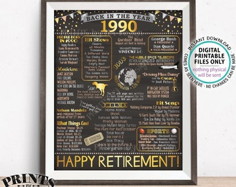 """Back in 1990 Retirement Party Sign, Flashback to 1990 Poster Board, PRINTABLE 16x20"""" Retirement Party Decoration <ID>"""