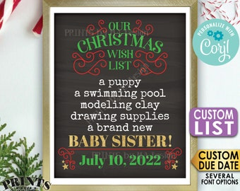 Christmas Pregnancy Announcement, Our Wish List for a Baby Sister, Custom List, PRINTABLE Chalkboard Style Sign <Edit Yourself with Corjl>