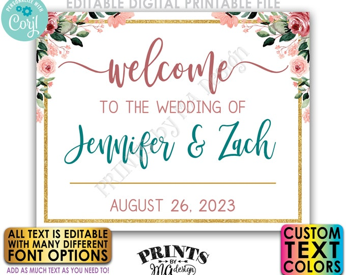 """Editable Wedding Welcome Sign, Rose Gold Blush Floral, Gold Glitter, Custom PRINTABLE 8x10/16x20"""" Sign <Edit Yourself w/Corjl>"""