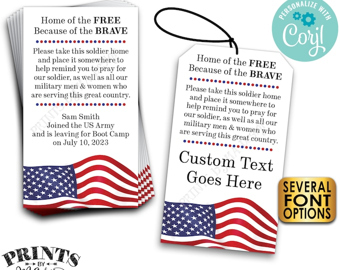 """Please Pray for Our Soldier Tags/Cards, US Military Boot Camp Send-off, Take a Soldier, PRINTABLE 2x3.5"""" Cards <Edit ONE Yourself w/Corjl>"""