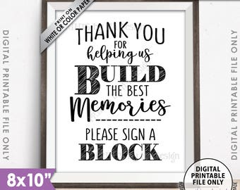 """Sign a Block Sign, Thank You for Helping Us Build Memories Wedding Sign, Wedding Memories, Bridal Shower Sign, PRINTABLE 8x10"""" Sign <ID>"""