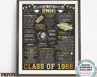 """Class of 1966 Reunion Decoration, Back in the Year 1966 Poster Board, Flashback to 1966 High School Reunion, PRINTABLE 16x20"""" Sign <ID>"""