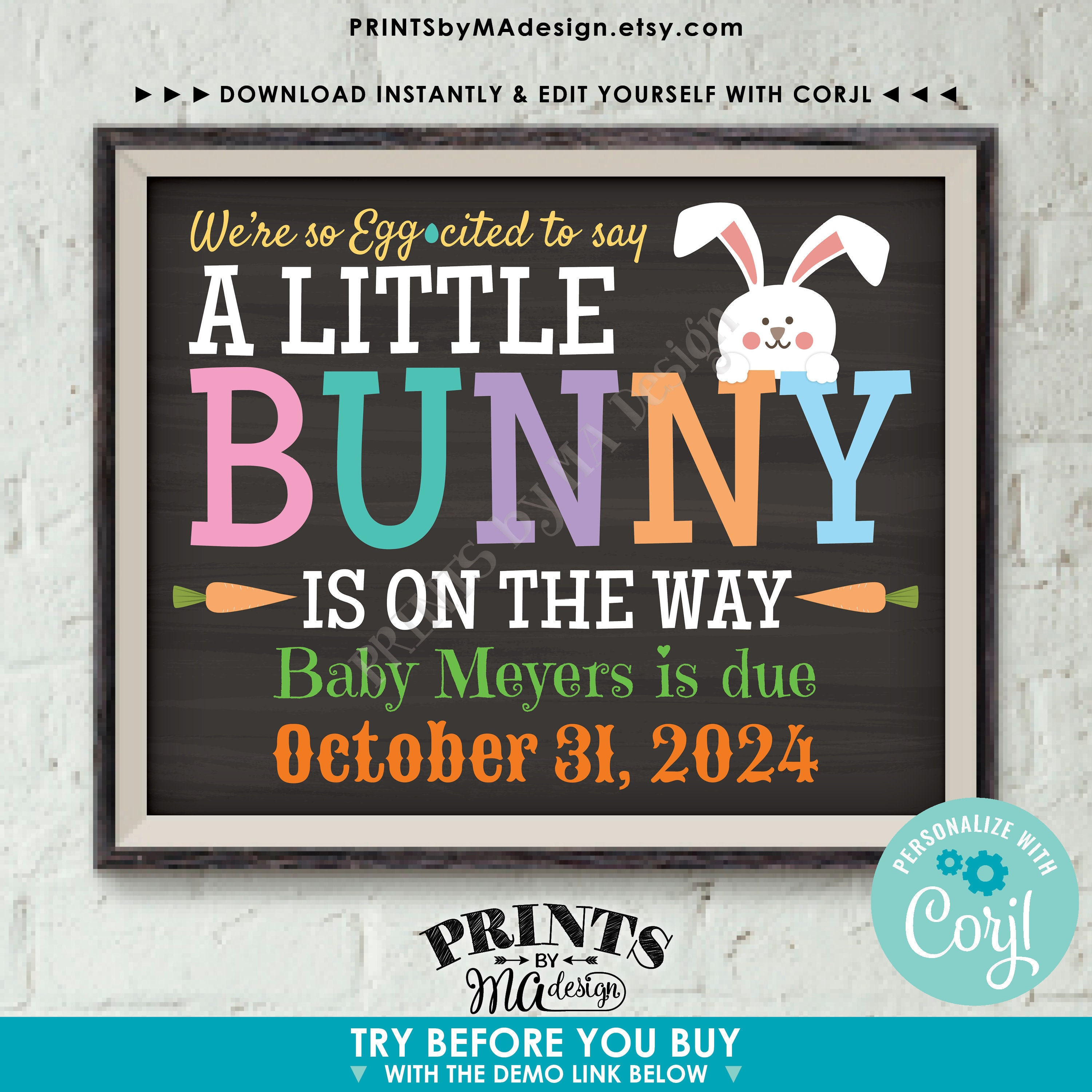 Easter Pregnancy Announcement Sign Easter Pregnancy Reveal Easter Baby Announcement Bunny Pregnancy  Printable Sign We/'re so Egg-cited