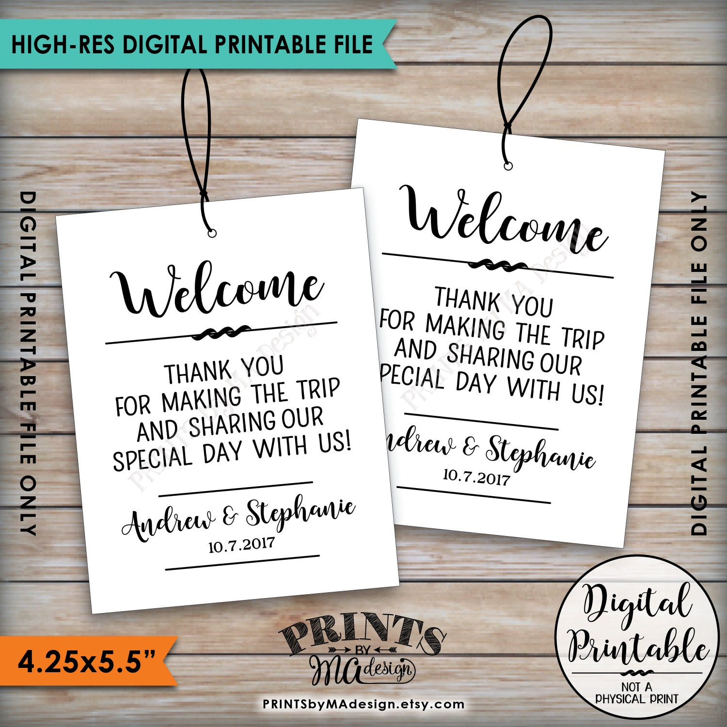 wedding welcome bag tags thank out of town guests destination