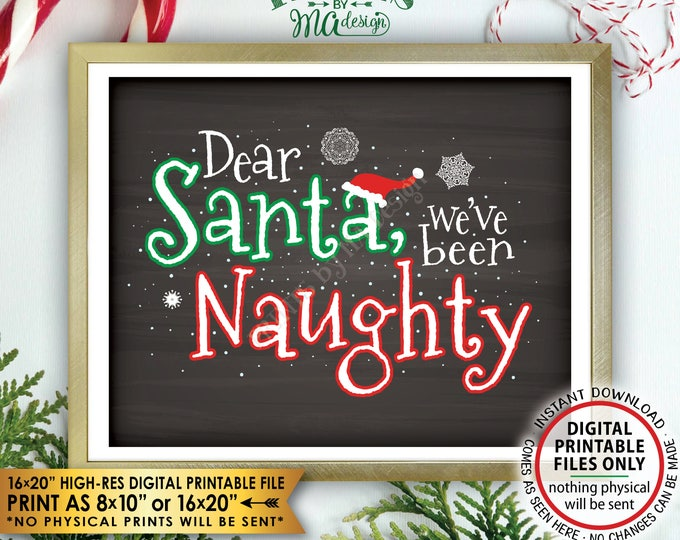 """Christmas Pregnancy Announcement, Dear Santa we've been Naughty, Letter to Santa Funny Reveal, PRINTABLE Chalkboard Style 8x10/16x20"""" <ID>"""