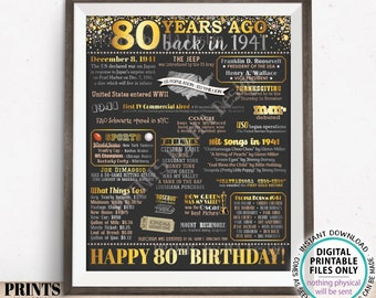 """80th Birthday Poster Board, Back in the Year 1941 Flashback 80 Years Ago B-day Gift, PRINTABLE 16x20"""" Born in 1941 Sign <ID>"""