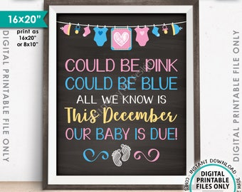 """Pregnancy Announcement, Could be Pink Could be Blue Baby is Due in DECEMBER Dated Chalkboard Style PRINTABLE 16x20"""" Reveal Sign <ID>"""
