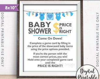 """Price is Right Baby Shower Game Sign, Guess the Prices Activity, Price Game Sign, Blue Shower Decorations, 8x10"""" Printable Instant Download"""