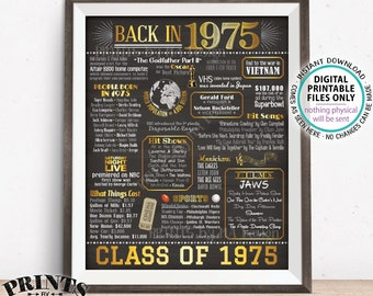 """Class of 1975 Reunion, Flashback to 1975 Poster, Back in 1975 Graduating Class Decoration, PRINTABLE 16x20"""" Sign <ID>"""