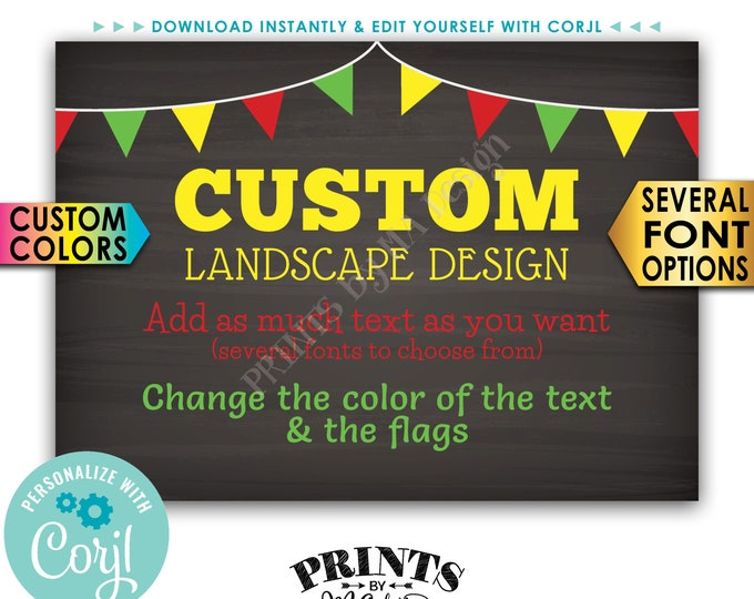 """Custom Sign with Flags, Choose Your Text & Colors, PRINTABLE 5x7"""" Chalkboard Style Landscape Sign <Edit Yourself with Corjl>"""