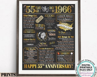 """55th Anniversary Poster Board, Married in 1966 Anniversary Gift, Back in 1966 Flashback 55 Years, PRINTABLE 16x20"""" 1966 Sign <ID>"""