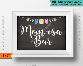 """Mimosa Bar Sign, MOMosa Sign, Make a Mimosa, Mom-osa Shower Decor, Mom-osa Drink, Neutral Baby Shower, 5x7"""" Instant Download Printable Sign"""