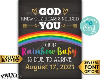 """Rainbow Baby Pregnancy Announcement, God Knew Our Hearts Needed You, Chalkboard Style PRINTABLE 8x10/16x20"""" Sign <Edit Yourself with Corjl>"""