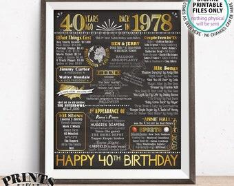 "40th Birthday Gift, Flashback 40 Years Ago, Born in 1978 Birthday Back in 1978 B-day, Gold, PRINTABLE 8x10/16x20"" Chalkboard Style Sign <ID>"
