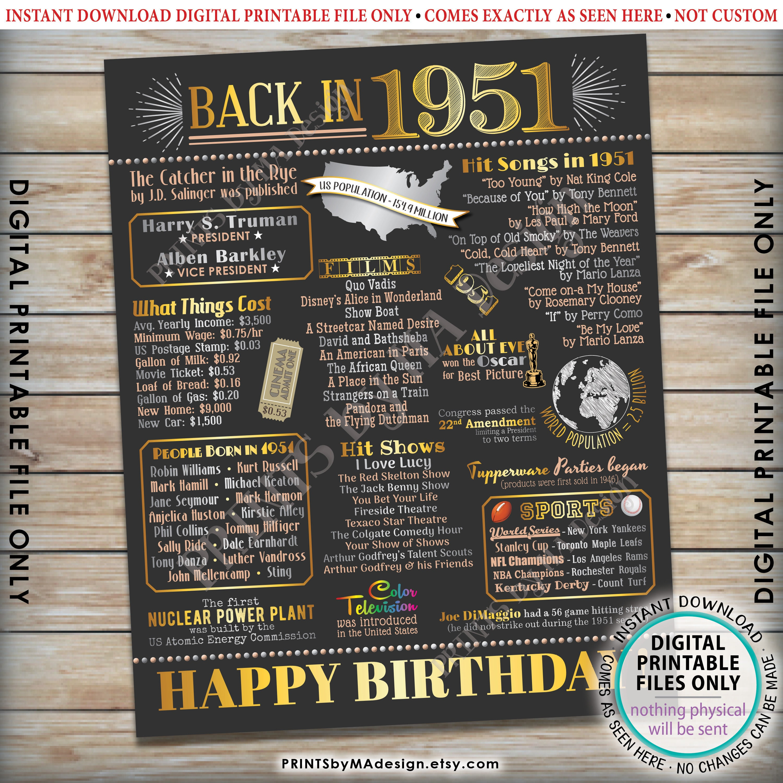 PRINTABLE 16x20\u201d B-day Sign \u201851 B-day Gift Back in 1951 Birthday Decorations 1951 Birthday Flashback Poster