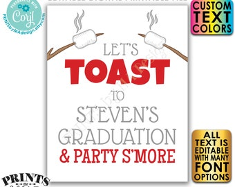 """Toast and Party S'more Sign, Wedding, Birthday, Retirement, Graduation, PRINTABLE 8x10/16x20"""" Smore Sign <Edit Yourself with Corjl>"""