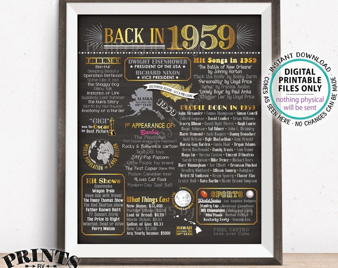 """Back in 1959 Poster Board, Remember 1959 Flashback Birthday Anniversary Reunion, USA History, PRINTABLE 16x20"""" Sign <ID>"""