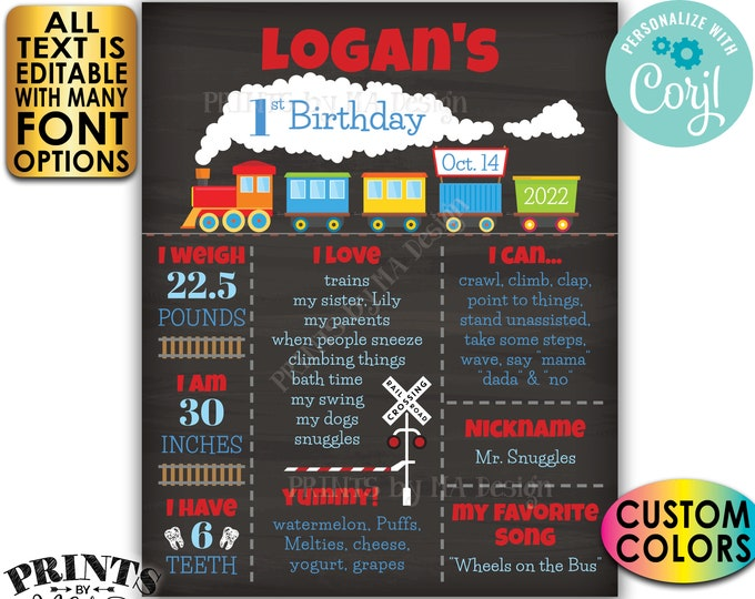 Train Birthday Poster, Train Theme Milestones Birthday Board, Bday Stats, Custom PRINTABLE Chalkboard Style Sign <Edit Yourself with Corjl>
