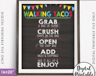 "Walking Tacos Taco Bar Taco Sign, Cinco de Mayo Sweet Sixteen Birthday Graduation 8x10/16x20"" Chalkboard Style Printable Instant Download"
