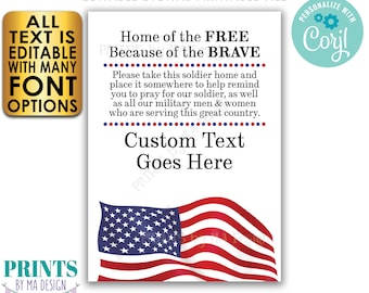 """Please Pray for Our Soldier US Military Boot Camp Send-off, Take a Soldier, Custom 5x7"""" PRINTABLE Patriotic Sign <Edit Yourself w/Corjl>"""