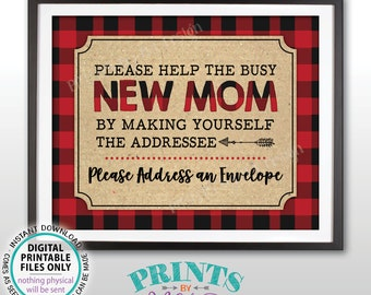 """Baby Shower Address an Envelope Sign, Make Yourself the Addressee for the Busy New Mom, PRINTABLE 8x10"""" Lumberjack Style Sign <ID>"""