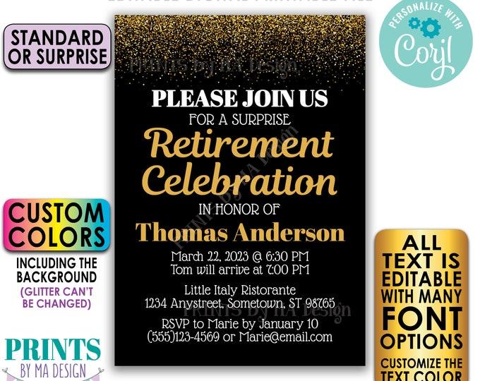 "Editable Retirement Celebration Invite, Gold Glitter, Custom PRINTABLE 5x7"" Retirement Party Invitation <Edit Yourself with Corjl>"