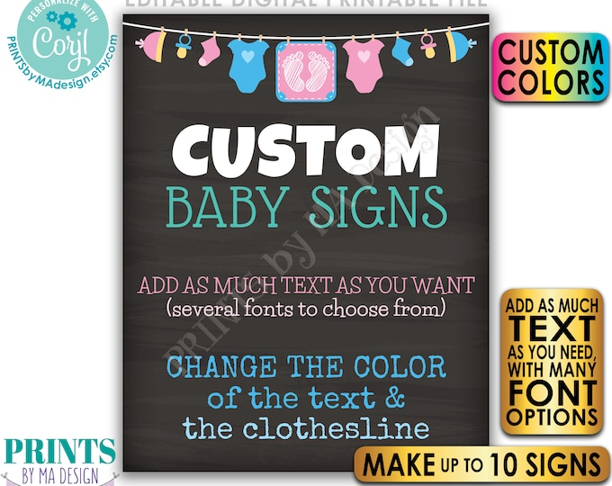 Editable Baby Signs, Baby Shower/Pregnancy, Up to 10 Custom Chalkboard Style PRINTABLE Portrait Signs, Choose Text <Edit Yourself w/Corjl>