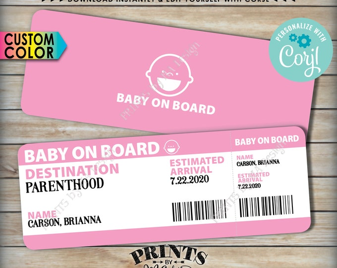 """Baby on Board Pregnancy Announcement, Airline Ticket Boarding Pass, PRINTABLE 8.5x11"""" file <Edit Yourself with Corjl>"""