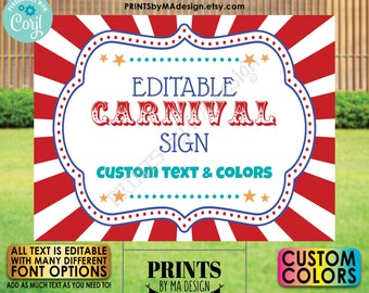 """Custom Carnival Sign, Carnival Theme Party Sign, Circus Birthday Party, One PRINTABLE 18x24"""" Landscape Sign <Edit Yourself with Corjl>"""