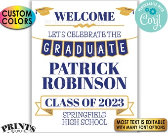 """Graduation Party Welcome Sign, Custom PRINTABLE 8x10/16x20"""" Grad Party Decoration <Edit Yourself with Corjl>"""